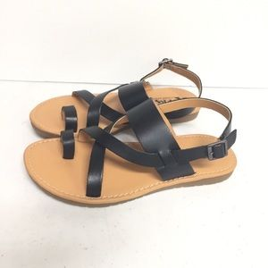 Korks By Kork Ease Cheri Black Leather Sandals